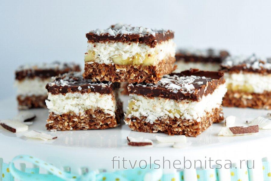 Кокосово-шоколадный десерт без выпечки